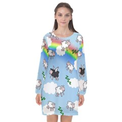 Sweet Dreams  Long Sleeve Chiffon Shift Dress