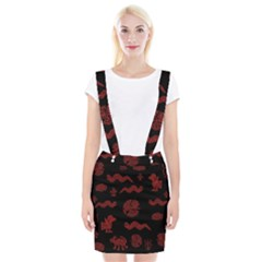Aztecs Pattern Braces Suspender Skirt