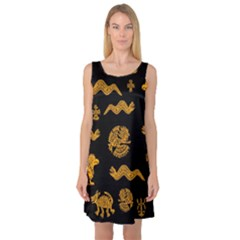Aztecs Pattern Sleeveless Satin Nightdress