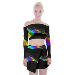 Rainbow Piano  Off Shoulder Top With Skirt Set