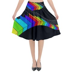 Rainbow Piano  Flared Midi Skirt