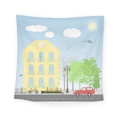 Urban Scene Square Tapestry (small) by linceazul