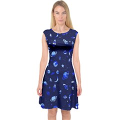 Space Pattern Capsleeve Midi Dress by ValentinaDesign