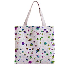 Space Pattern Zipper Grocery Tote Bag by ValentinaDesign