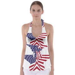 A Star With An American Flag Pattern Babydoll Tankini Top by Nexatart