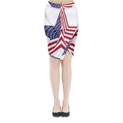 A Star With An American Flag Pattern Midi Wrap Pencil Skirt by Nexatart