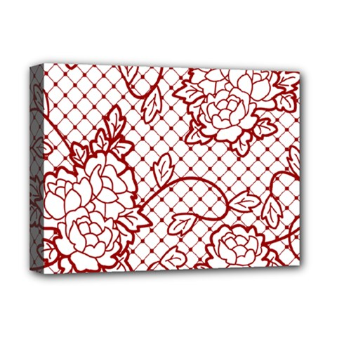 Transparent Decorative Lace With Roses Deluxe Canvas 16  X 12   by Nexatart