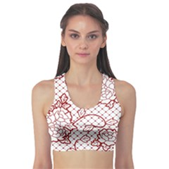 Transparent Decorative Lace With Roses Sports Bra