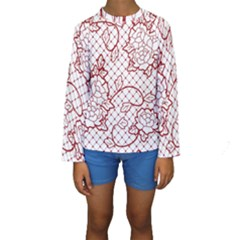 Transparent Decorative Lace With Roses Kids  Long Sleeve Swimwear