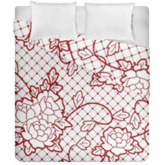 Transparent Decorative Lace With Roses Duvet Cover Double Side (california King Size) by Nexatart