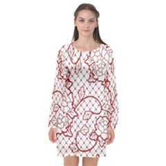 Transparent Decorative Lace With Roses Long Sleeve Chiffon Shift Dress  by Nexatart