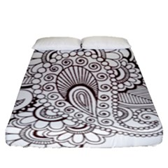 Henna Line Art Clipart Fitted Sheet (queen Size) by Nexatart