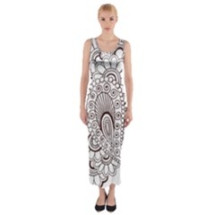 Henna Line Art Clipart Fitted Maxi Dress