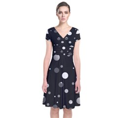 Decorative Dots Pattern Short Sleeve Front Wrap Dress by ValentinaDesign
