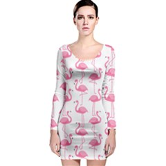 Pink Flamingos Pattern Long Sleeve Bodycon Dress