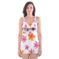 Watercolor Summer Flowers Pattern Skater Dress Swimsuit