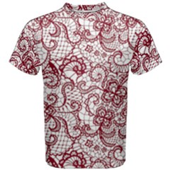Transparent Lace With Flowers Decoration Men s Cotton Tee
