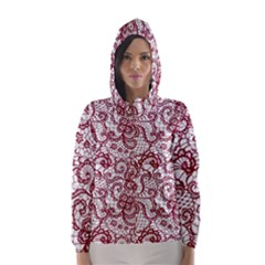 Transparent Lace With Flowers Decoration Hooded Wind Breaker (women)
