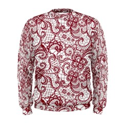 Transparent Lace With Flowers Decoration Men s Sweatshirt