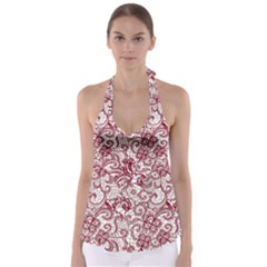 Transparent Lace With Flowers Decoration Babydoll Tankini Top