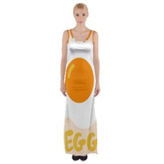 Egg Eating Chicken Omelette Food Maxi Thigh Split Dress