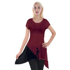 Walking Stairs Steps Person Step Short Sleeve Side Drop Tunic