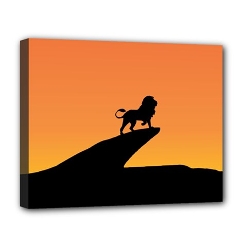 Lion Sunset Wildlife Animals King Deluxe Canvas 20  X 16