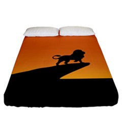 Lion Sunset Wildlife Animals King Fitted Sheet (king Size)