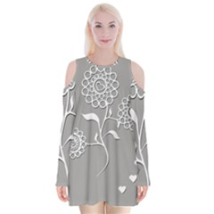 Flower Heart Plant Symbol Love Velvet Long Sleeve Shoulder Cutout Dress