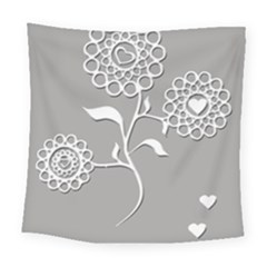 Flower Heart Plant Symbol Love Square Tapestry (large) by Nexatart