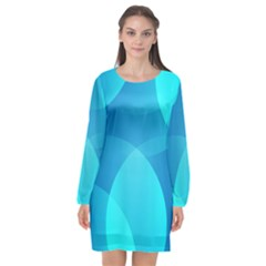 Abstract Blue Wallpaper Wave Long Sleeve Chiffon Shift Dress