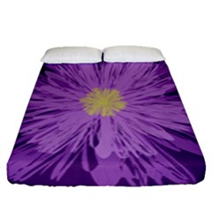 Purple Flower Floral Purple Flowers Fitted Sheet (queen Size) by Nexatart