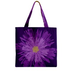 Purple Flower Floral Purple Flowers Zipper Grocery Tote Bag
