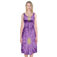 Purple Flower Floral Purple Flowers Midi Sleeveless Dress