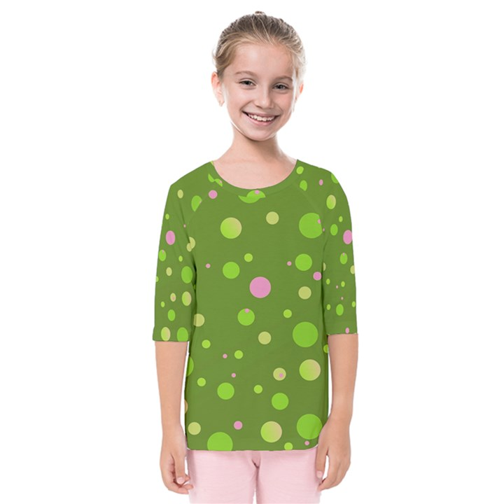 Decorative dots pattern Kids  Quarter Sleeve Raglan Tee