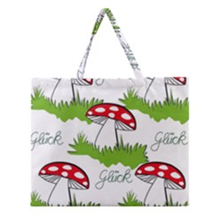Mushroom Luck Fly Agaric Lucky Guy Zipper Large Tote Bag by Nexatart