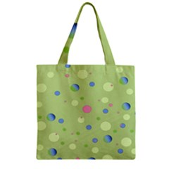 Decorative Dots Pattern Zipper Grocery Tote Bag