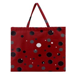 Decorative Dots Pattern Zipper Large Tote Bag by ValentinaDesign