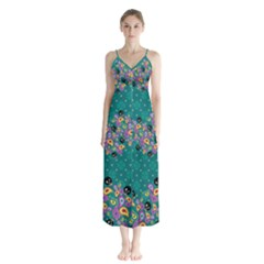 Flower Pattern137 Chiffon Maxi Dress Paisley Skulls by galfawkes
