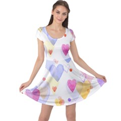Watercolor Cute Hearts Background Cap Sleeve Dresses