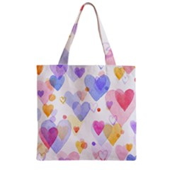 Watercolor Cute Hearts Background Zipper Grocery Tote Bag by TastefulDesigns