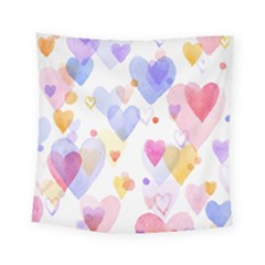 Watercolor Cute Hearts Background Square Tapestry (small)