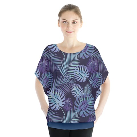 Leaves-monstera Batwing Chiffon Blouse by Wanni
