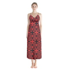 Abstract Background Red Black Chiffon Maxi Dress