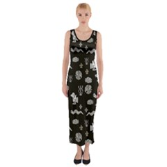 Aztecs Pattern Fitted Maxi Dress