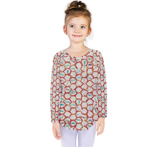 Honeycomb Pattern                Kids  Long Sleeve Tee by LalyLauraFLM