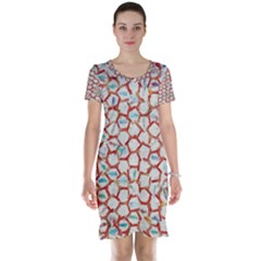 Honeycomb Pattern             Short Sleeve Nightdress