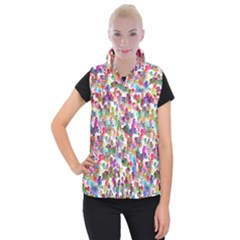 Colorful spirals on a white background                Women s Button Up Puffer Vest