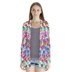 Colorful spirals on a white background       Drape Collar Cardigan
