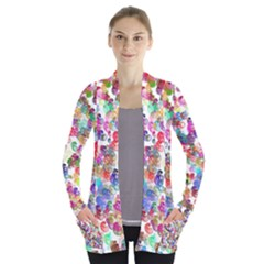 Colorful Spirals On A White Background       Women s Open Front Pockets Cardigan